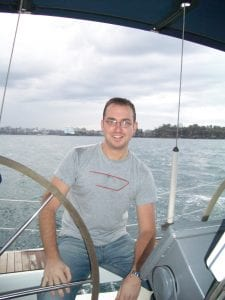 Craig on a boat